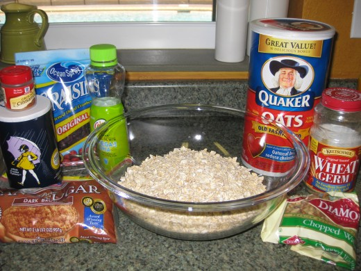 Oatmeal Ingredients...oops, forgot to include the honey in the picture!