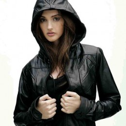 Pics For > Hooded Leather Bomber Jacket Women