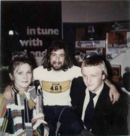 Sandie and myself with Nicky Horne, a Capital radio DJ after we won a dance competition! - Strewth we were young!