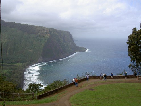 The Waipi'o Valley lookout gives a picture perfect view of the valley and black sand beach below.