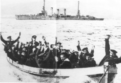 Crew surrendering to the British after scuttling their ship