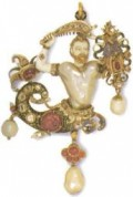 MERMAN  In this typical 16th-century pendant, a pearl forms the torso, with diamonds and rubies set in gold around it