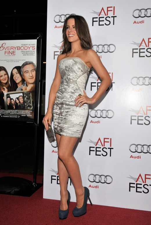 Kate Beckinsale in a silver mini dress and towering high heels pumps at the premiere of Everybody's Fine