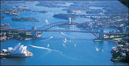 View from the air of the Sydney Opera House and the Sydney harbor bridge