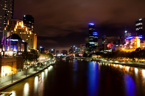 The Yarra River at night, very pretty!