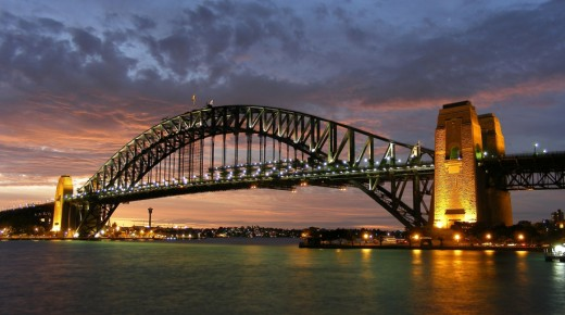 Sydney Harbour Bridge at night fall
