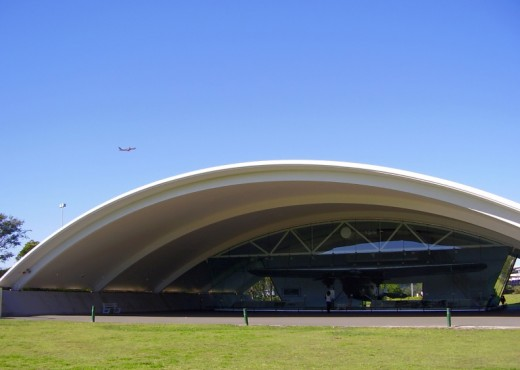 "The Kingsford Smith hanger with the ""Southern Cross"" inside."