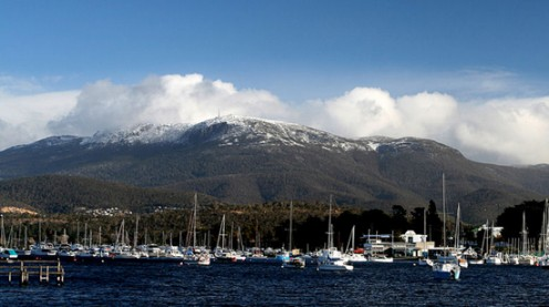 Mount Wellington towers over Hobart