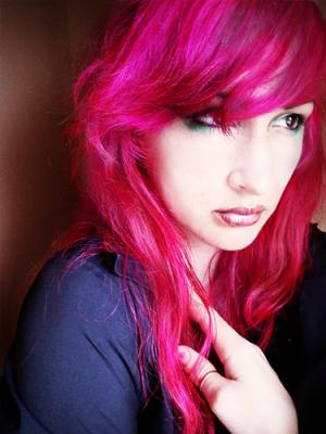 Audrey Kitching with her trademark pink hair.