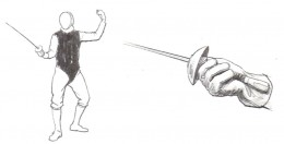 Foil: The thumb and index finger guide the weapon and control the point toward the valid target area, illustrated in black, which is covered with a metallic vest worn by each fencer.