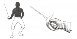 Saber: The thumb is held almost vertical on top of the handle and the valid target area includes all portions of the body above the juncture of the legs and the trunk, as illustrated.