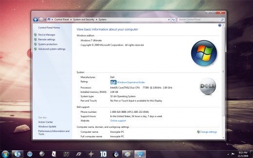 Windows 7 installed on Dell Inspiron 1520