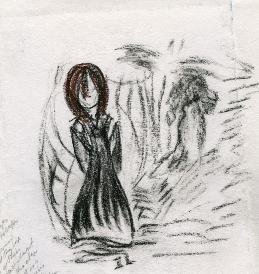These figures are the ghosts of many lost women and was inspired by the book--and my studies of wetlands. Where are the disappeared ones? Search in the water and the bushes...