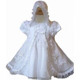 Lace baby christening gown and bonnet