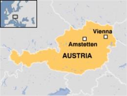 Map of Austria indicating Amstetten where the Fritsl's scandal happened