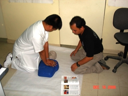 the author with one of the student in first aid and cpr training