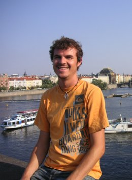 Just me, hanging out on a bridge in Prague.         I'm just a normal guy with funny hair...