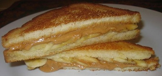 Grilled Peanut Butter Sandwiches Are Oh So Delicious And In This Photo Bananas Have Been Added To The Sandwich.