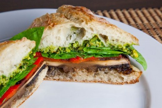 Grilled Portobello and Roasted Red Pepper Sandwich