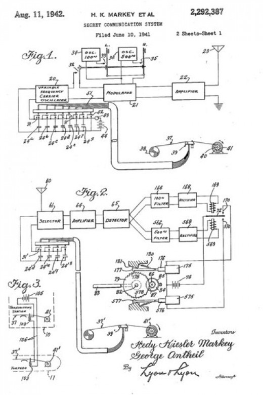 The 1942 Patent. The name H K Markey was Hedy's married name with her second husband.