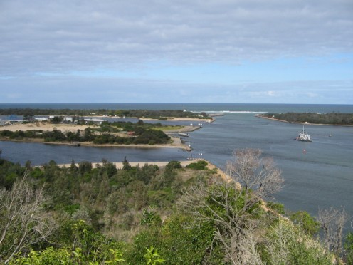 The man made entrance to Lakes Entrance now a thriving fishing and tourist spot.