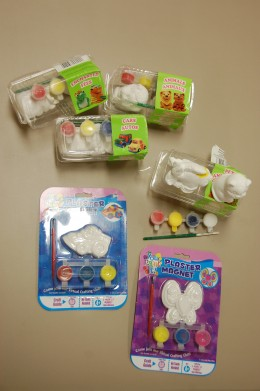 Plaster figurines and magnets.  Animals, fish, cars, butterfly.