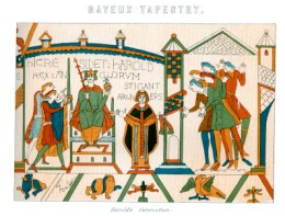The oldest known existing embroidery work is the Bayeux tapestry, partly depicted here.