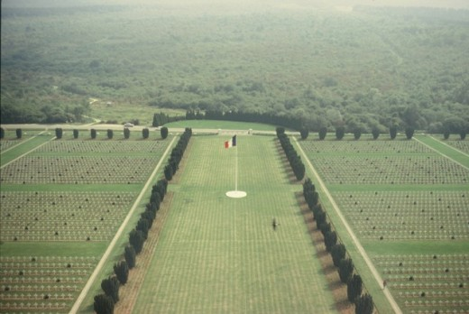 View of cemetery at Verdun battlefield in Verdun, France