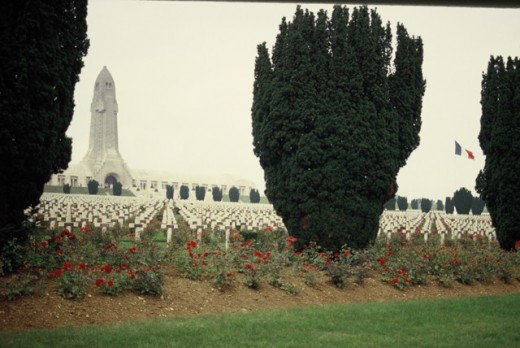 Monument & graves at the French Military Cemetery in Verdun, France.