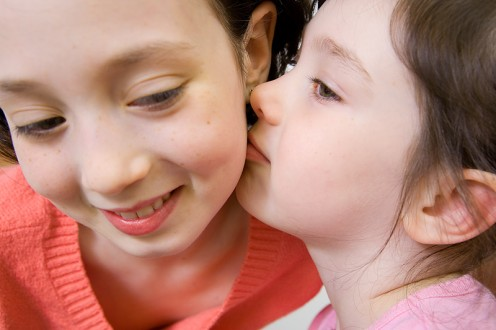 Siblings getting along can make family life peaceful.