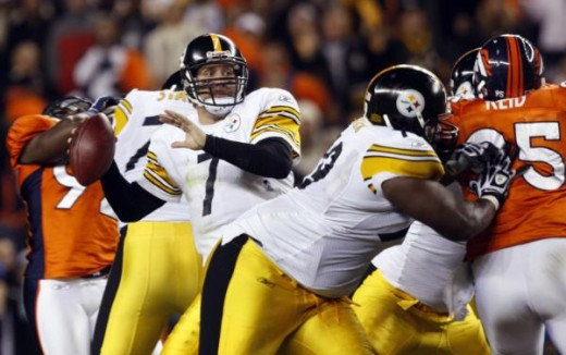 Pittsburgh Steelers quarterback Ben Roethlisberger (7) looks to pass against the Denver Broncos during the fourth quarter of the Steelers' 28-10 victory in an NFL football game Monday, Nov. 9, 2009, in Denver. (AP Photo/David Zalubowski)