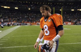 Denver Broncos quarterback Kyle Orton walks off the field at the end of the NFL football game against the Pittsburgh Steelers in Denver on Monday, Nov. 9, 2009. The Steelers won 28-10. (AP Photo/Chris Schneider)