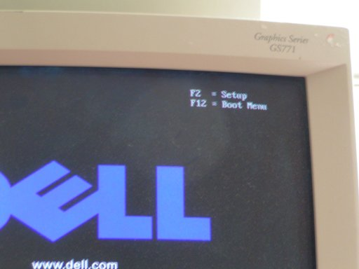 Press F12 to access the boot menu in the BIOS. This is Dell specific. Other computers may require a different key.