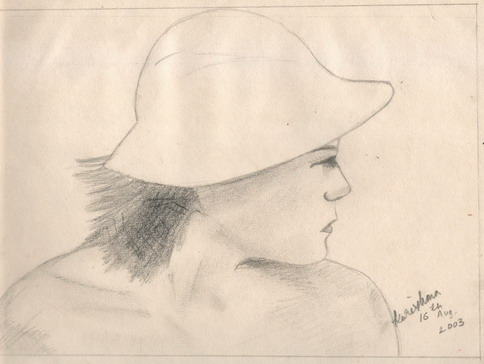 Pencil sketch of girl with a hat looking afar