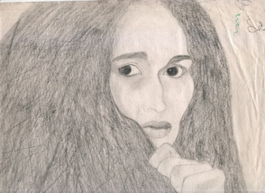 This drawing is one that I cherish like no other. The quality of the sketch has reduced due to scanning it but when seen on paper the eyes mezmerize me, they make me feel pain and suffering and longing. I dubbed this the Cloaked lady. This drawing ha