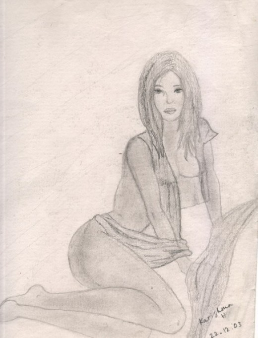 Sensuous woman sitting with drapes of chiffon material covering her - medium pencil on cartridge paper