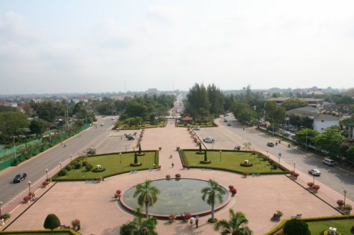View of Vientiane from top of Patuxai monument