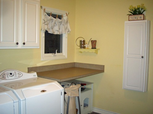 folding counter, hamper, cat box and ironing board cabinet
