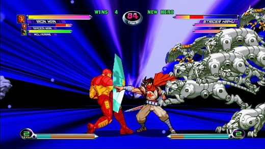 An example of one of the graphics filters in the Marvel vs. Capcom 2 rerelease.
