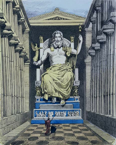 An artist's illustration on how the statue might have looked like inside the temple