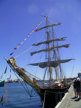 Admiring an old ship, which the first migrant used to get to Australia