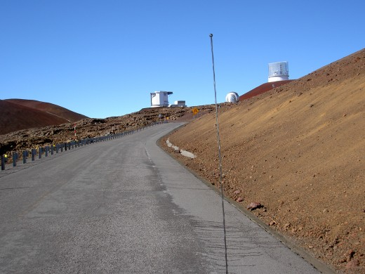 The road up the mountain is both dirt and paved.