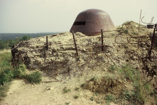 Artillery turret at Ft Vaux on the Verdun World War I Battlefield in France.