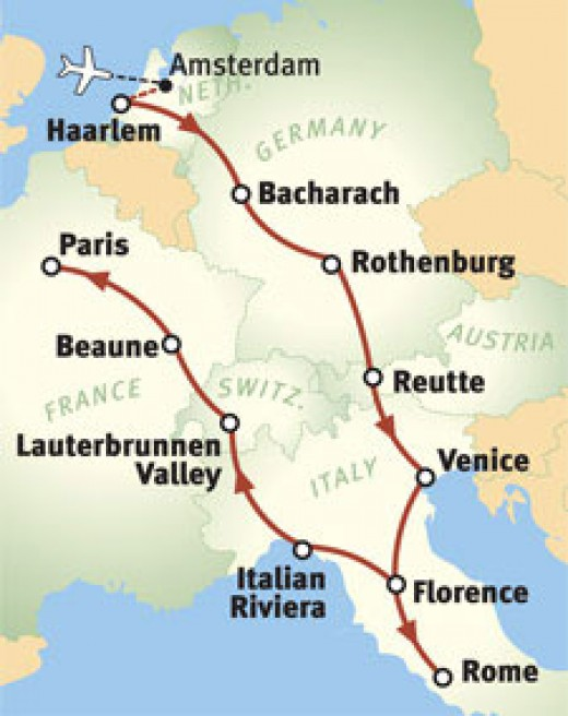 Popular itinerary for first time travellers to Europe traveling by tour bus.