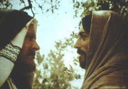 "Laurence Olivier as Nicodemus & Robert Powell as Jesus in Franco Zeffirelli's ""Jesus of Nazareth""."