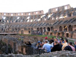 Here is a tour group taking in the views at the Colosseum in Rome, Italy.