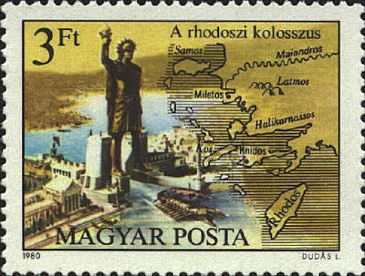 Stamp with image of Colossus of Rhodes
