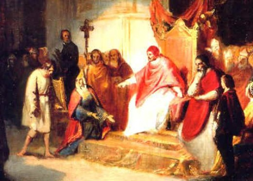 EMPEROR HENRY IV BEGS POPE GREGORY VII FOR FORGIVENESS