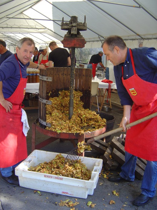 Making pure apple juice at Chabanais autumn festival