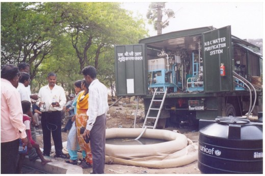 A mobile NBC (Nuclear Biological Chemical) Water Purification System to produce pure water from saline water well